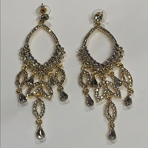 Jewelry - SERIOUSLY SPARKLY Rhinestones in Goldtone Earrings